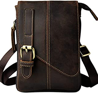 Genuine Leather Handbag,Dark Brown Handbag,Small Messenger Shoulder Satchel,Waist Bag Pack