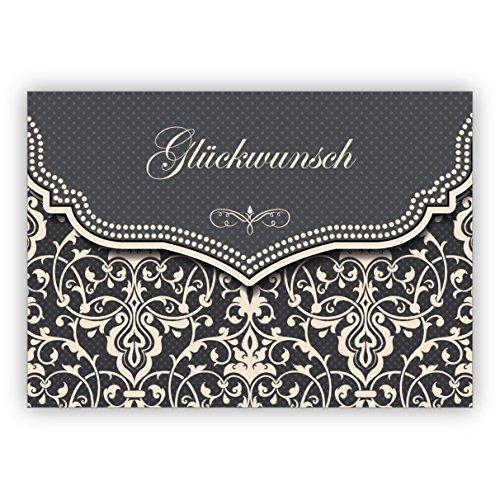 Feine Glückwunschkarte mit Vintage Damast Muster in edlem Grau zur Hochzeit, Taufe, Geburt, Examen etc.: Glückwunsch • hochwertige Grußkarte mit Umschlag zum Gratulieren für beste Wünsche