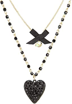 Betsey Johnson - Iconic Glitter Heart Two-Row Necklace