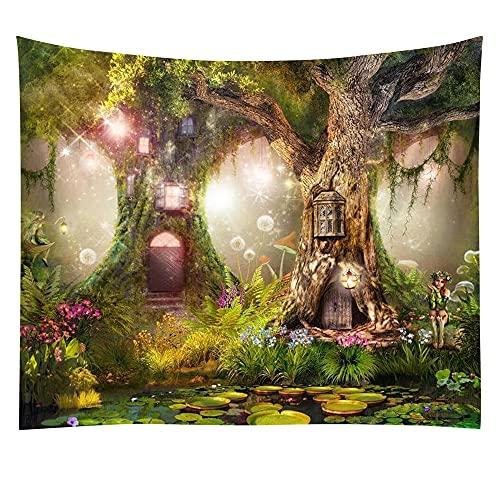 KHKJ Tapiz de Bosque Virgen árbol en Bosque brumoso Tapiz Colgante de Pared Paisaje Natural Tapiz decoración para Sala de Estar Dormitorio A10 150x130cm