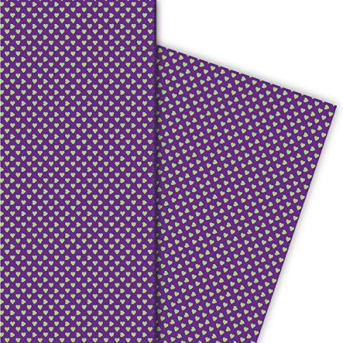 Kartenkaufrausch romantisch met kleine hartjes cadeaupapier set voor leuke geschenkverpakking, 4 vellen, 32 x 48 cm decorpapier, patroonpapier om in te pakken, knutselen, scrapbooking groen op paars