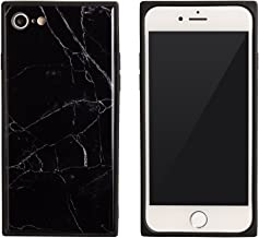 iPhone 8Plus ケース iPhone 7Plus ケース iPhone X ケース ソフト TPU シンプル 四角 薄型 ストラップ グラデーション Qi対応 カバー 黒 「スクエアマーブル」 iPhone8Plus / iPhone7Plus,1.ブラック