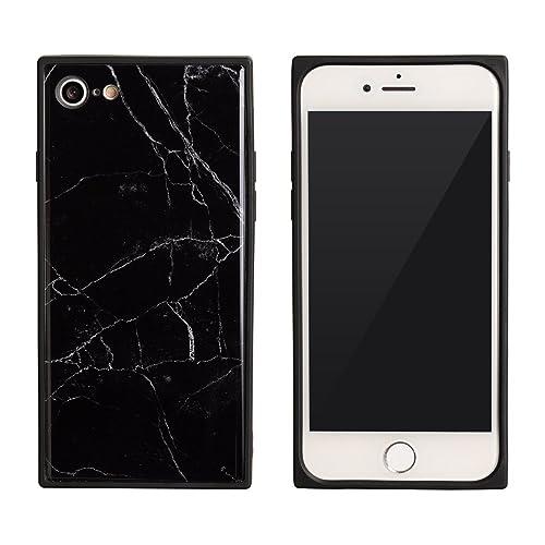 cc0e9a6ff3 【design mobile】 iPhone8 / iPhone7 ケース ブラック 黒 白 「SquareMarble スクエアマーブル」