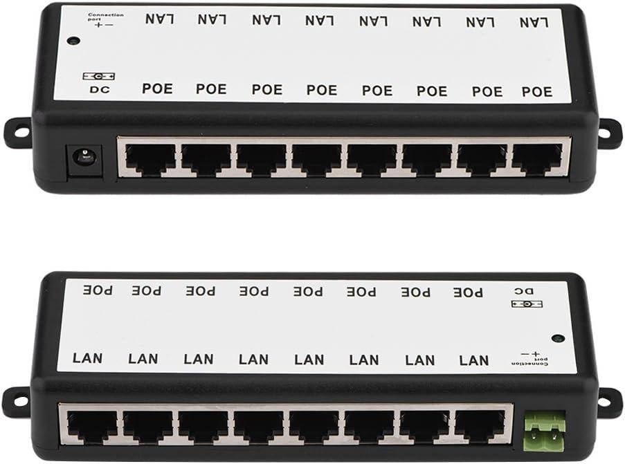 8 Puertos 4//8 Puertos 10//100Mbps PoE Inyector Fuente de alimentaci/ón Adaptador Ethernet IEEE802.3af Divisor de Internet C/ámara IP PoE Interruptor de Red