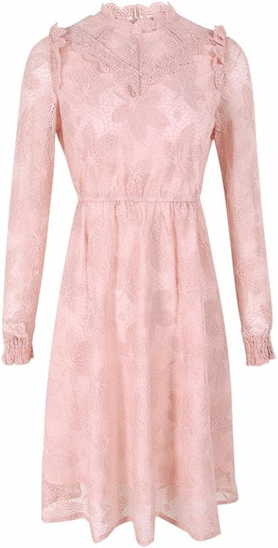 JamCLO Women's Dress Standing Collar High Waist ALine Skirt Lace OnePiece