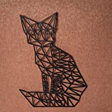 GRAVURZEILE Origami Fuchs aus Holz - in verschiedenen Farben & Größen - Moderne Wand-Deko & Eyecatcher - Farbe Schwarz, Größe Größe: M (22,0 x 16,4 cm)