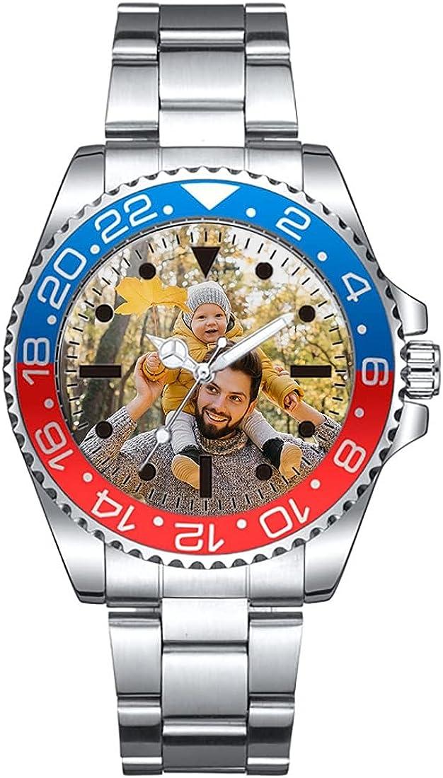 Relojes Personalizados Relojes para Hombres Relojes de Pareja Relojes a Prueba de Agua Relojes de Fotos Personalizados Relojes de aleación Relojes de Plata para Novios