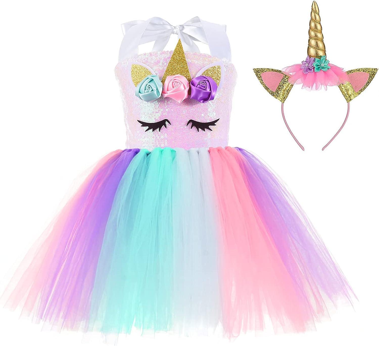 Unicorn Dress ! Super beauty product restock quality top! for Girls Birthday Headband with Sequin Popular 3-10Y Rain