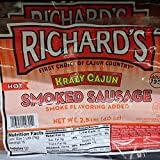 Richard's Krazy Cajun Hot Smoked Sausage 40 Oz (2 Pack)