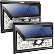 LITOM Original Solar Lights Outdoor, 3 Optional Modes Wireless Motion Sensor Light with 270° Wide Angle, IP65 Waterproof, Easy-to-Install Security Lights for Front Door, Yard, Garage, Deck-2 Pack
