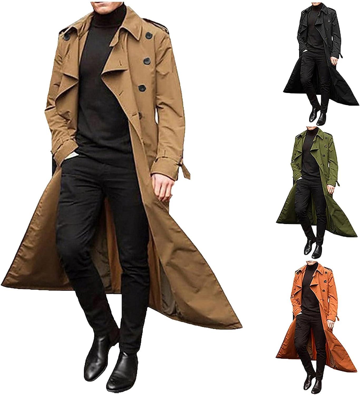 Men's Trench Coat Slim fit Lapel Double Breasted Belted Windbreaker Long Jacket Windproof Button Overcoat