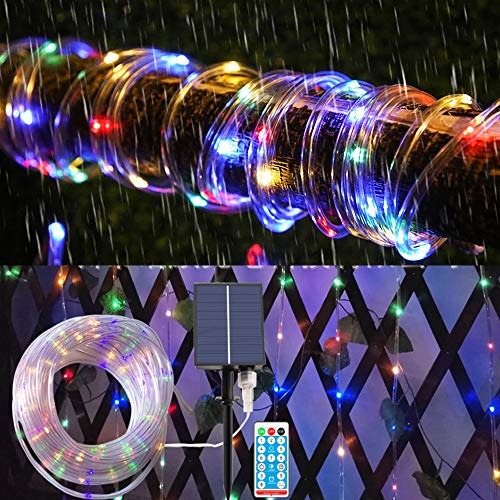 Solar Rope Lights 20 m 200 LEDs Light Tube with Remote Control, IP68 Waterproof LED Tube, 8 Modes and Brightness Dimmable, Light Tube LED Ideal for Outdoors, Weddings, Parties