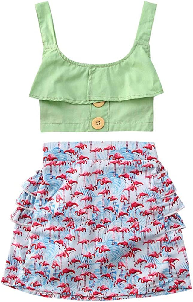 Los Angeles Mall Little Kids Girl Solid Color Ruffle Halter Crop Flaming and Tops In a popularity