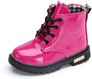 Daclay Kids Boots Children Boys and Girls Candy-Colored Waterproof and Velvet Martin Boots