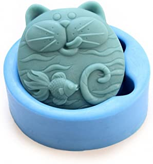 Cat and Goldfish Soap Mold - MoldFun Cute Cat and Fish Art Craft Silicone Mold for Handmade Soap, Lotion Bar, Bath Bomb, P...