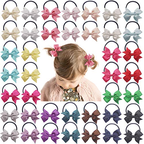 DeD 40PCS Baby Tiny 2' Pinwheel Hair Bows Elastic Hair Ties Glitter Grosgrain Ribbon Rubber Bands Pigtail Holders Hair Accessories for Girls Infants Toddlers Kids In Pairs
