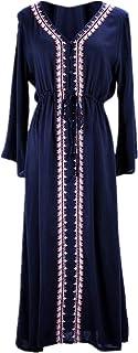 L-Peach レディース おしゃれな 花刺繍 長袖 ロングビーチドレス パレオ 体型カバー ビキニ水着カバー