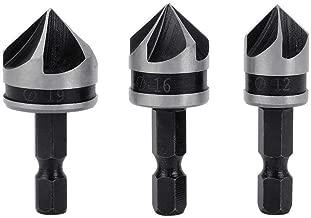 Gasea 3pcs 1/4 Inch Hex Shank 5 Flute 90 Degree Chamfering Countersink Drill Bit Set 12mm 16mm 19mm