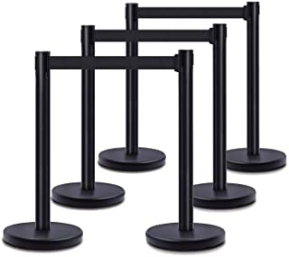 """DuraSteel VIP Series Standard Rope Barriers - 6 Pcs Set Heavy Duty Black Tuff Tex Crowd Control Stanchions - 36"""" H with 6...."""