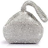JIAN YA NA Ladies 'Evening Clutch Bling Glitter borsa triangolo disegno borsa da sposa borsa per il partito Prom (argento)