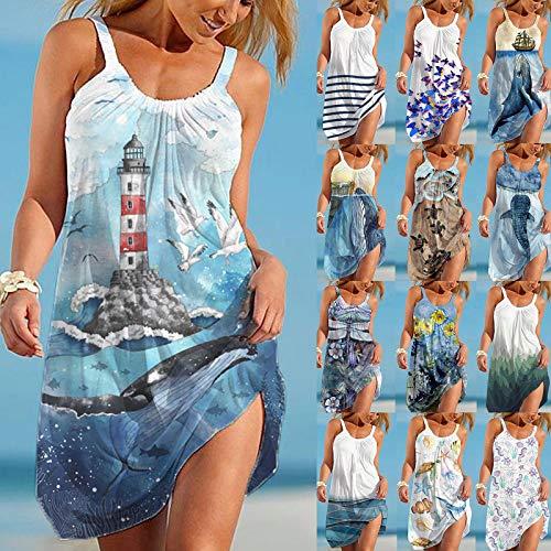 MUMEOMU Sommerkleid Damen Strandkleid Leicht Boho Kleidung Schulterfreies Kleid Spaghettiträger Vestkleid Casual Loose Ärmellos Blusenkleid Minikleid Tunika A-Linie Knielang Kleid