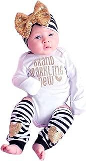 Bototao Newborn Infant Baby Girls Clothes Romper Jumpsuit Bodysuit+Striped Leggings Outfits