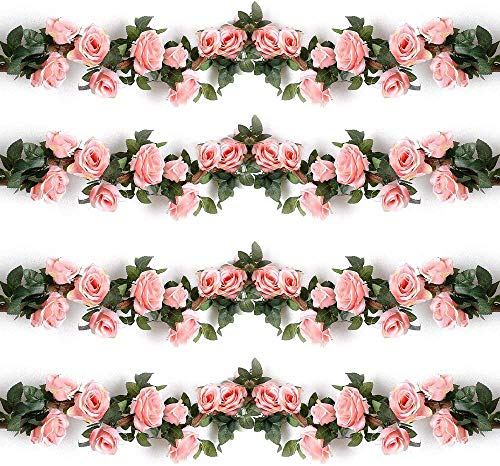 Msrlassn Artificial Rose Vines Fake Silk Flowers Rose Garlands Hanging Rose Ivy Plants for Wedding Home Office Arch Arrangement Decoration (Pink, 2PCS)
