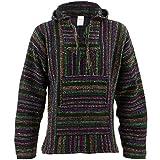 Mexikanisch Baja Jerga schwarz und bunt mit kapuze hippie top - Synthetisch, Schwarz, 50% acryl\norigin \n50% baumwolle 50% baumwolle 50% acryl, unisex erwachsene, X-Large