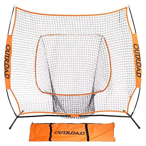 Max4out Baseball Nets Batting and Pitching 7 x 7 - Portable Practice Net Softball net with Bow Frame and Strike Zone Target - Portable and Removable Ball Holder Batting Practice with Carry Bag