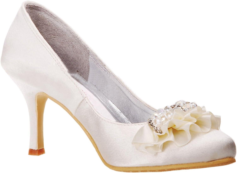 Minitoo Womens MZ573 Round Toe High Heel Rhinestone Satin Bridal Wedding shoes Pumps