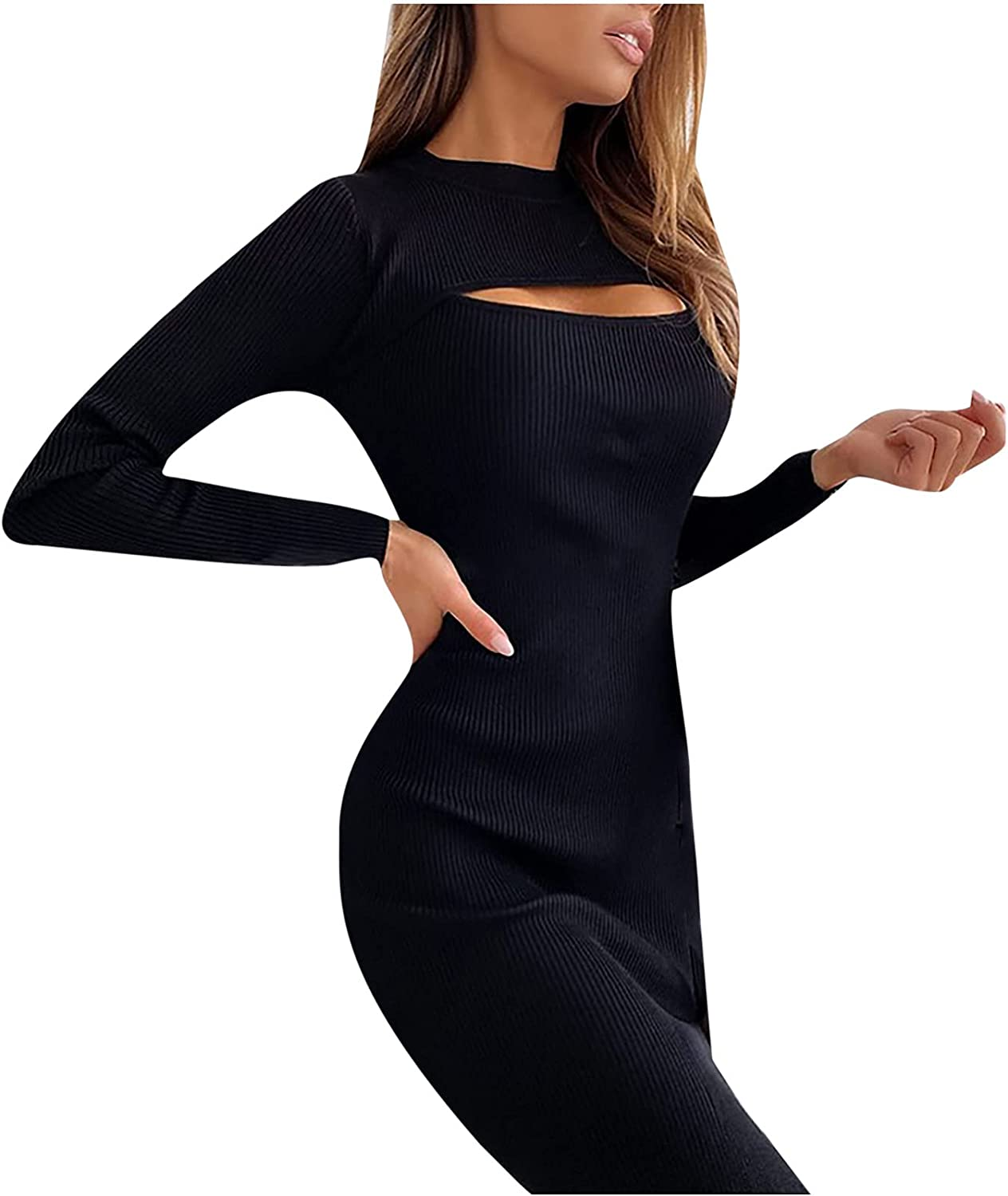 SHILONG Women Summer Sexy Solid Color Long Sleeve Hollow Out Bodycon Party Club Dress Wrap Dress