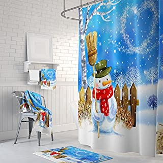 Christmas Snowman Happy New Year Bath Home Decor Of Waterproof Bathroom Polyester Fabric Mildew Resistant Shower