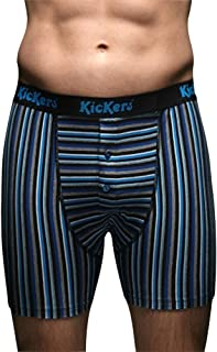 Kickers 2 Pair Men's Cotton Jersey Boxer Shorts Small Blue Striped 30-32