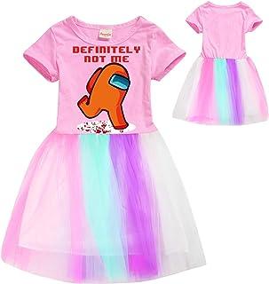 Am-Ong Us Cute Rainbow Lace Dress Girls Princess Dress Printed Cotton