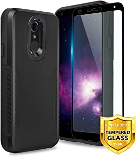 TJS LG Q7 / LG Q7 Plus Case, with [Full Coverage Tempered Glass Screen Protector] Hybrid Carbon Fiber Protective Shockproof Black Drop Protector Phone Case Cover (Black)