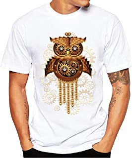 Balakie Plus Size Mens Shirt Owl Print Loose Cotton O Neck Stylish Blouse Tops