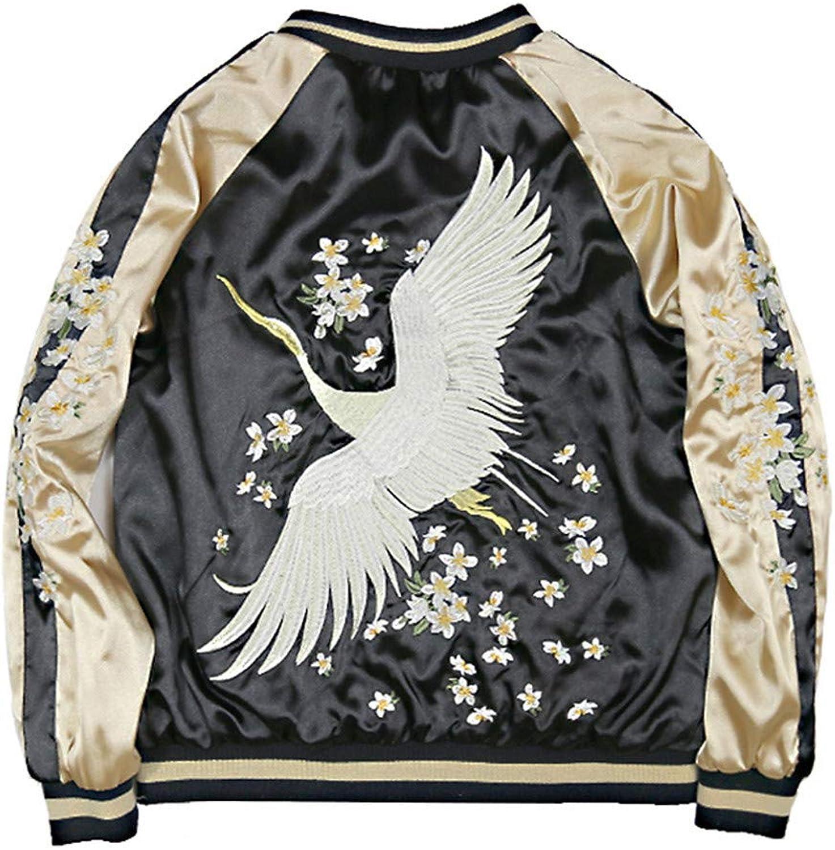 BACHDLS Ladies Autumn Winter Vintage Satin Floral Embroidered Jacket