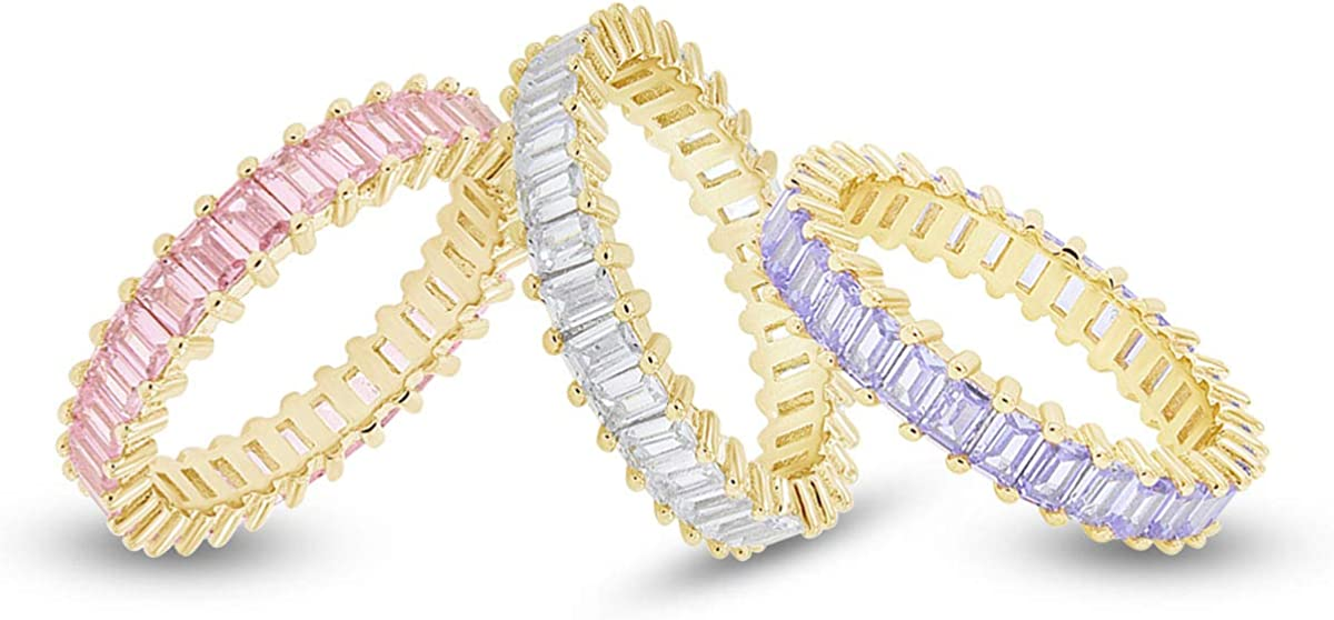 AFFY Set of 3 Pastel Rainbow Baguette Band Ring Anniversary Eternity Band Cubic Zirconia Crystal Wedding Cocktail Fashion Luxury Jewelry for Women