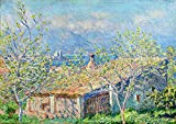 Claude Monet - Casa Del Jardinero En Antibes Reproducción Cuadro sobre Lienzo Enrollado 120X80 cm - Paisajes Pinturas Impresións Decoración Muro