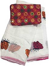 pawaly Women's self designed Chanderi cotton saree With Mirror Work Blouse Piece