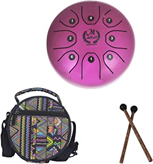5.5 Inch Mini Steel Tongue Drum with Musical Mallet and Travel Bag for Personal Meditation, Yoga, Zen