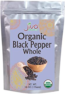 Jiva Organics Whole Black Peppercorns 1 Pound (16oz) - Pepper