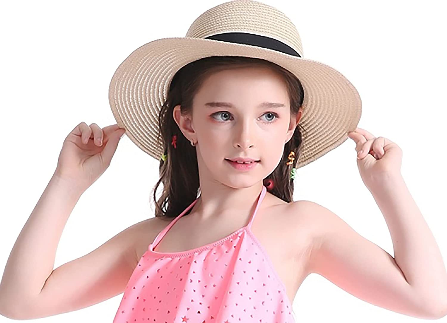 Girls Same day shipping Floppy-Straw Japan's largest assortment Hat - with Wide Brim Summe Wind-Lanyard Beach