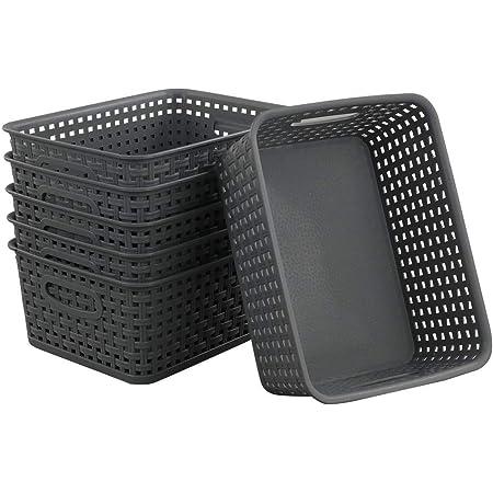 Neadas Gris Panière Paniers Rangement Panier en Osier Plastique, 6-Pack