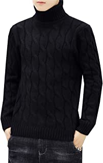 QZH.DUAO Men's Turtleneck Twisted Cable Knit Pullover Sweater Knitwear Jumper Tops, Black, US S
