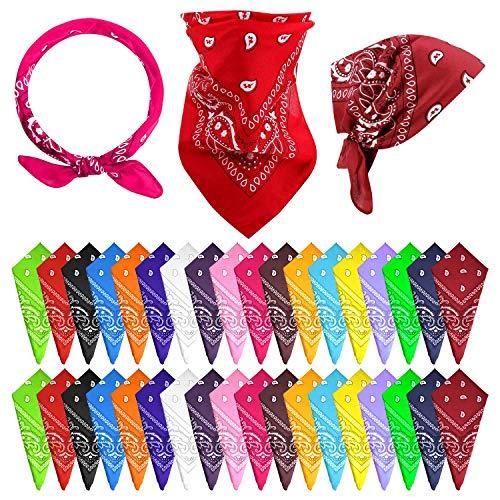 FEPITO 36 Pcs Paisley Bandanas Cowboy Bandana Paisley Print Head Wrap Scarf (18 colors, 36)