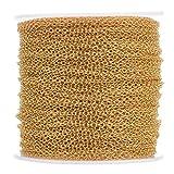 Cheriswelry - Catene a maglia barbazzale in oro, lunghezza 90 cm, 2 x 1,5 mm, con rocchetto per creazione di gioielli, accessori fai da te
