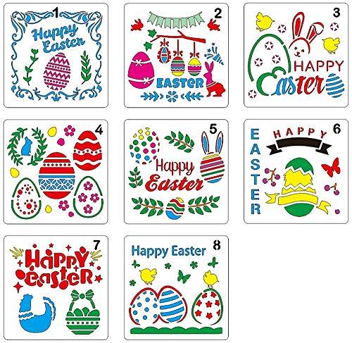 Lirener 8 Stück Zeichenschablonen Ostern dekoration Schablone Kunststoff Zeichnung Skala Malen Multifunktionale Zeichnung Lineal für Scrapbooking, Wanddekoration & DIY Craft Projekte, 13x13cm