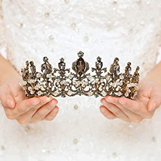 Nicute Vintage Baroque Gold Crowns and Tiaras Bride Rhinestone Tiara Wedding Queen Crystal Headbands Jewelry for Women and Girls