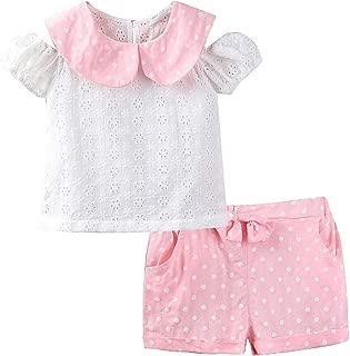 Mud Kingdom Girl'S Lace Shirts and Polka Dot Shorts Outfits